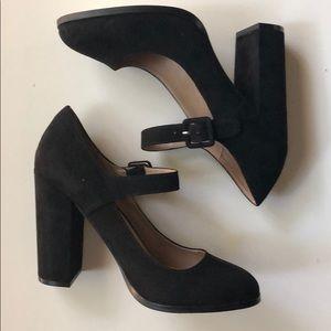 Chunky Black Mary Jane Heels